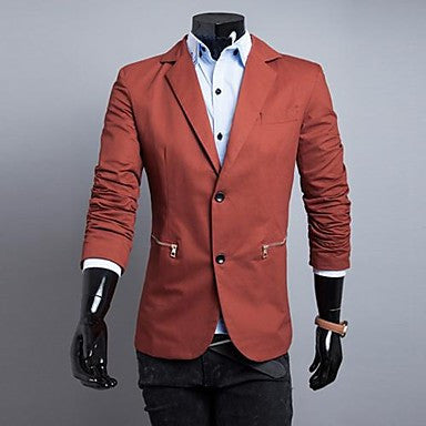 Men's Two Button Zipper Decoration Suit