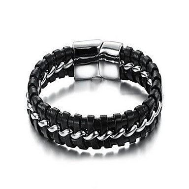 Fashion Men's Temperament Black And White Alloy Leather Bracelet(1 Pc)