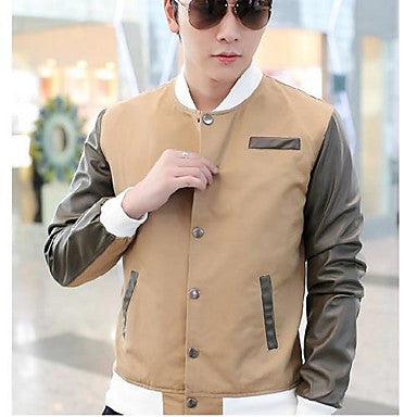 Men's Korean Style Stand Contrast Color Coat