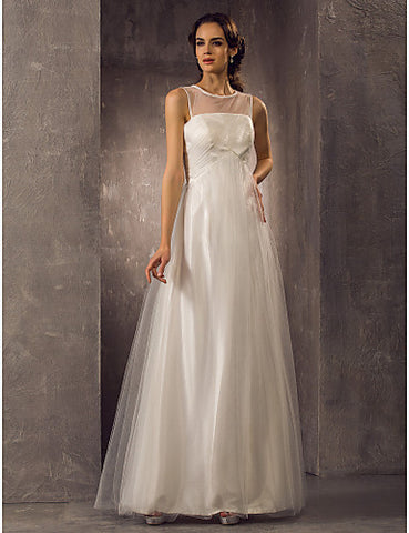 A-line Scoop Floor-length Tulle Weddimg Dress (788842)