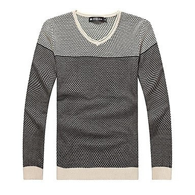 Men's V Neck Long Sleeve Contrast Color Casual Sweaters