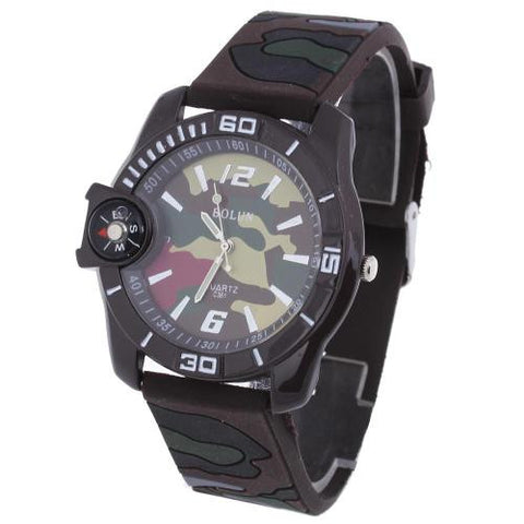 Men Quartz Wristwatch Camouflage Silicone Band Arabic Numerals Compass Hot