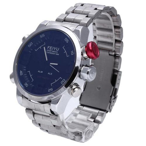 Men LED Digital Wrist Watch Steel Band Black Dial Timer Alarm Sport
