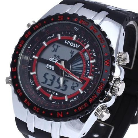 Wrist Watch Chronograph Alarm Multifunction Black Silicone Band