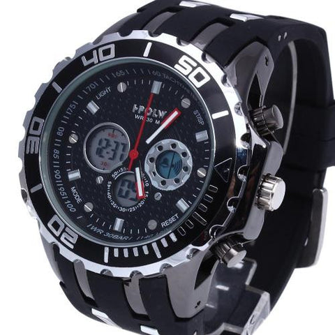 Silicone Band Wrist Watch Stopwatch Alarm LED Black Dial Fashion Men