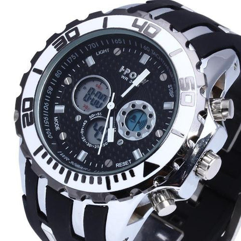 Silicone Band Wrist Watch Stopwatch Alarm LED Black Dial Men's Multifunction