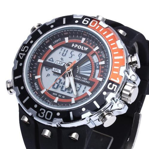 Men LED Digital Wristwatch Watch Time Black Silicone Band Sport