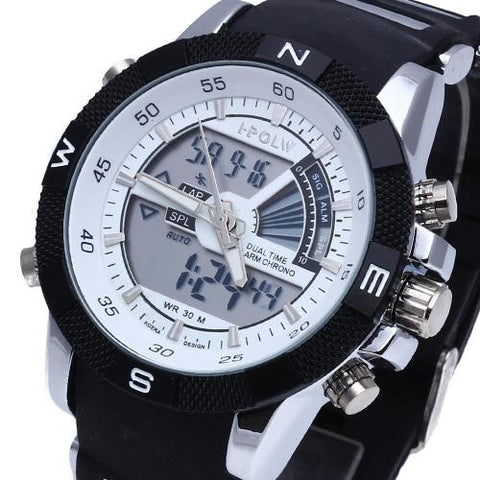 Mens LED Digital Wristwatch Watch Timer Black Silicone Band Sport
