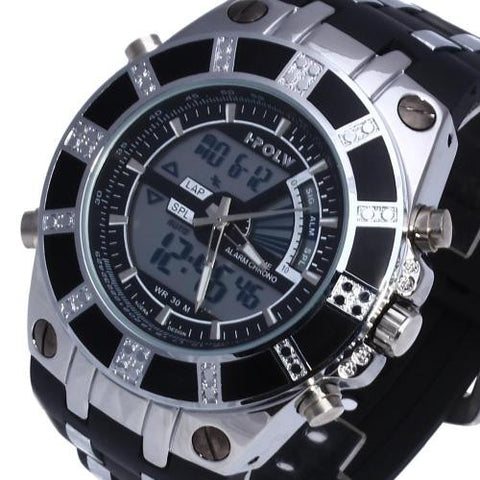 Men LED Digital Wristwatch Watch Time Black Silicone Band Sport New