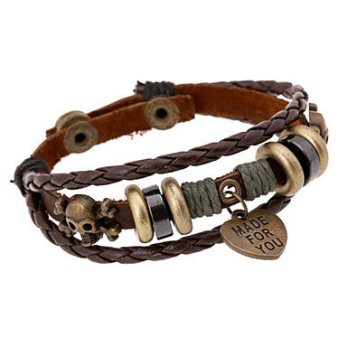 Fashion Beads Skull And Heart 20cm Men's Brown Leather Leather Bracelet(1 Pc)