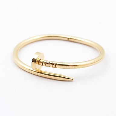 Fashionable Men's Gold/Silver/Rose Gold 316L Stainless Steel Nail Shape Bracelet