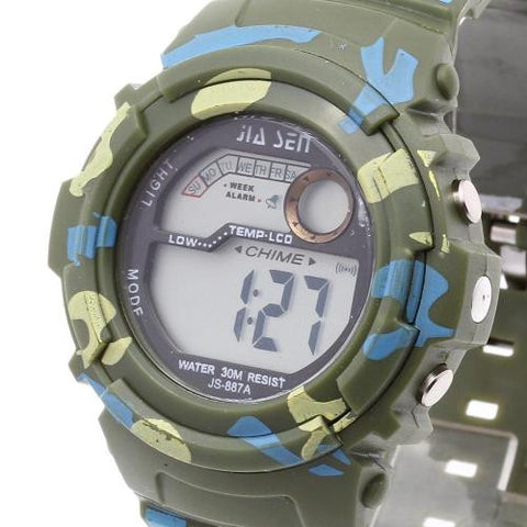 Men LED Digital Wrist Watch Alarm Calendar Time Plastic Band Army