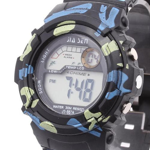 Men LED Digital Wrist Watch Alarm Calendar Timer Plastic Band Army