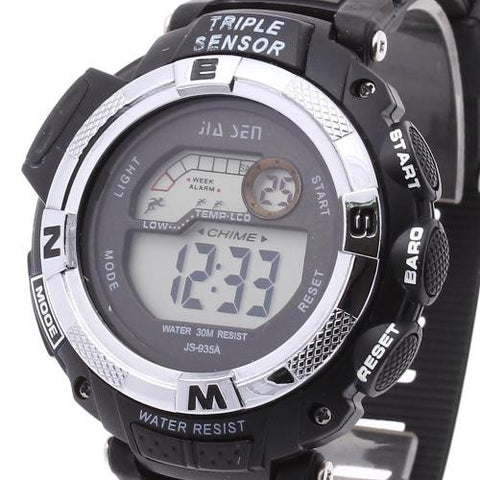 Men LED Digital Wrist Watch Calendar Timer Plastic Band Outdoor Sport