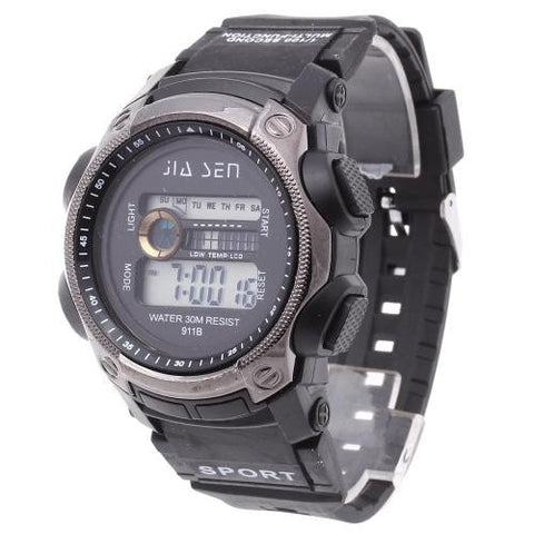Men LED Digital Wrist Watch Alarm Calendar Time Plastic Band Sports