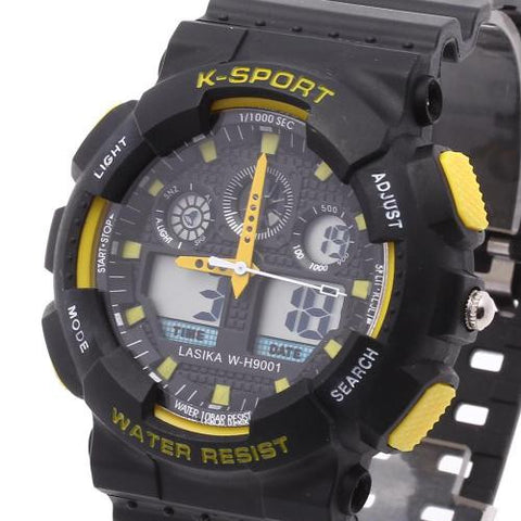 Mens LED Digital Wrist Watch Alarm Calendar Timer Plastic Band Sport