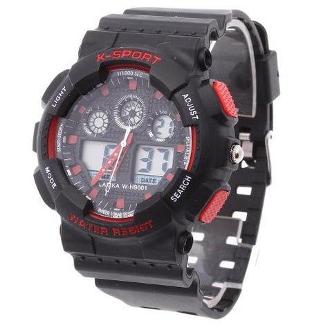 Men LED Digital Wrist Watch Alarm Calendar Timer Plastic Band Sport