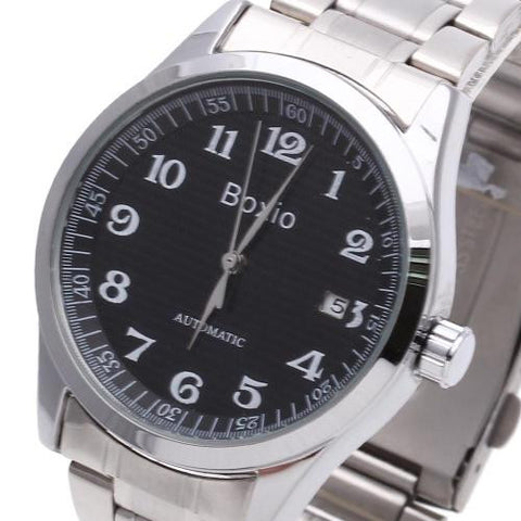 Men Wristwatch Watch Automatic Mechanical Steel Band Arabic