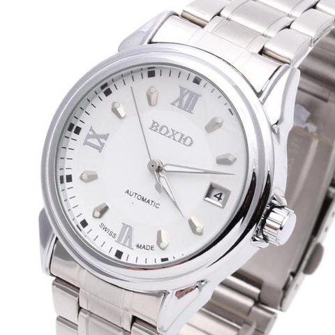 Men Wristwatch Automatic Mechanical Steel Band Calendar Noctilucent Numerals