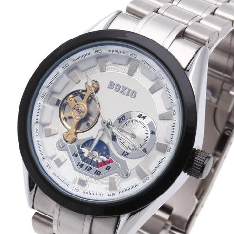 Men Wristwatch Automatic Mechanical Skeleton Round White Dial Black Bezel