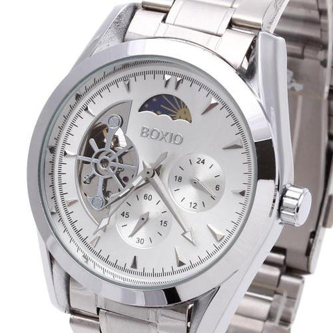 Men Wristwatch Watch Automatic Mechanical Skeleton Round Dial Silver Mark