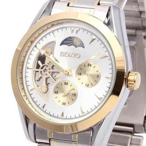 Men's Wristwatch Watch Automatic Mechanical Skeleton Round Dial Gold Mark