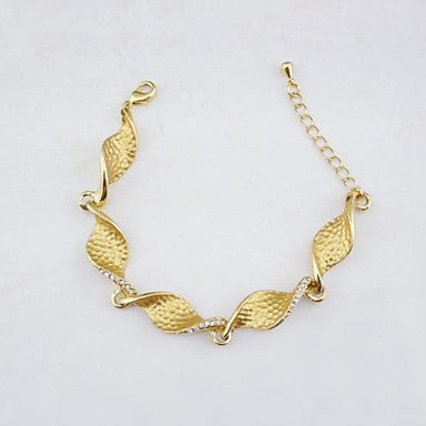 18K Golden Plated Spiral Chain Zircon Bracelet 22cm