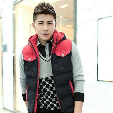 Men's New Winter Patckwork Warm Fashion Stylish Sleeveless Quality Casual Coat