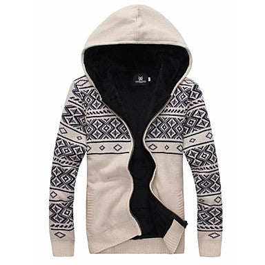 Men's Slim Casual Long Sleeve Print Fashion Cardigan Sweater