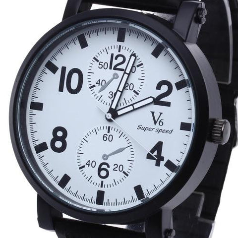 Men Quartz Wrist Watch Wristwatch Black Silicone Band Strap Arabic Numeral Mark