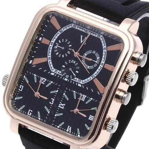 Men Quartz Rectangle Wrist Watch Wristwatch Black Silicone Band Multi Dial