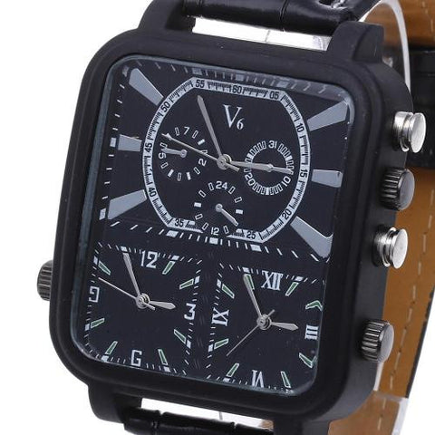 Men Quartz Rectangle Wrist Watch Wristwatch Black Leather Band Multi Dial