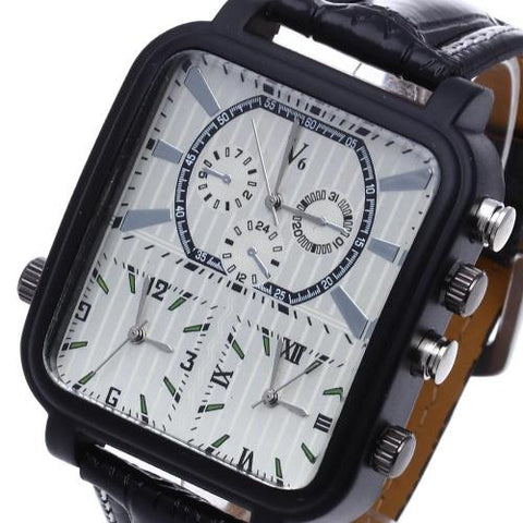 Men Quartz Rectangle Wrist Watch Wristwatch Black Leather Band White Multi Dial
