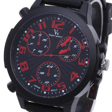Men Quartz Wrist Watch Wristwatch Black Silicone Band Arabic Numerals Multi Dial
