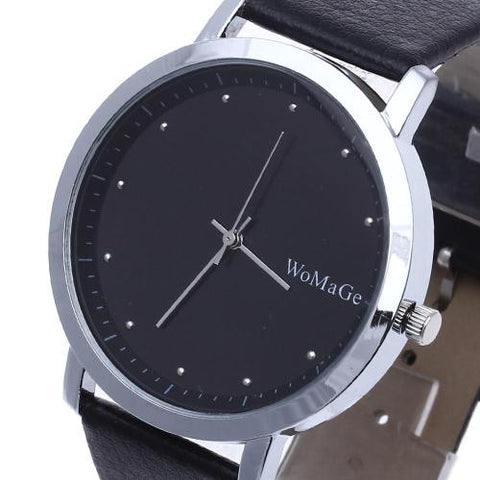 Men Fashion Cool Sport Casual Quartz Leather Clock Analog Wrist Watch Black