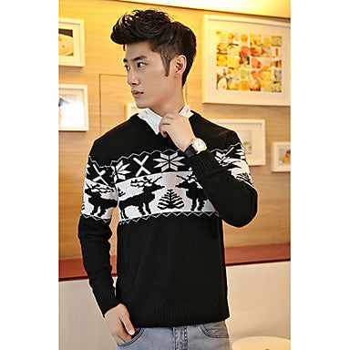 Men's All-Match Round Collar Fawn Sweater
