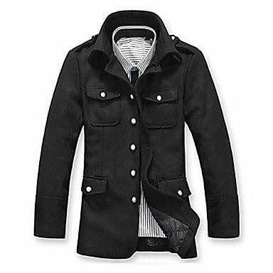Men's Winter Stand Collar Woolen Coat