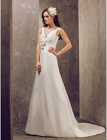 A-line V-neck Sweep/Brush Train Satin Wedding Dress (631195)