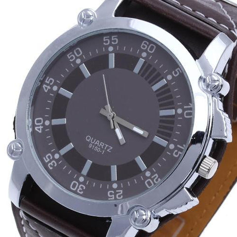 Men Quartz Wrist Watch Oversized Brown Leather Band Stainless Steel Dial