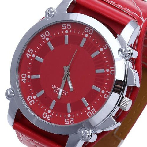 Men Quartz Wrist Watch Oversized Red Leather Band Stainless Steel Dial New