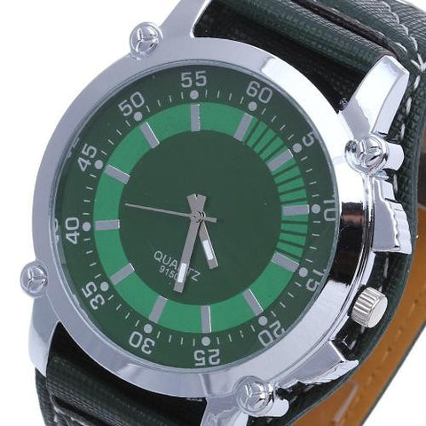 Men Quartz Wrist Watch Oversized Green Leather Band Stainless Steel Dial