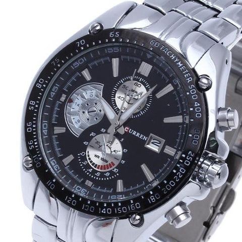 Men Stainless Steel Quartz Wrist Watch Sport Water Hours Date Hand Luxury Clock