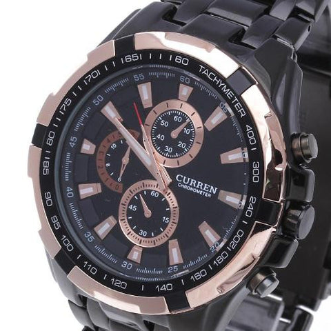 New Luxury Men Sport Black Stainless Steel Quartz Wrist Watch Hour Dial Clock