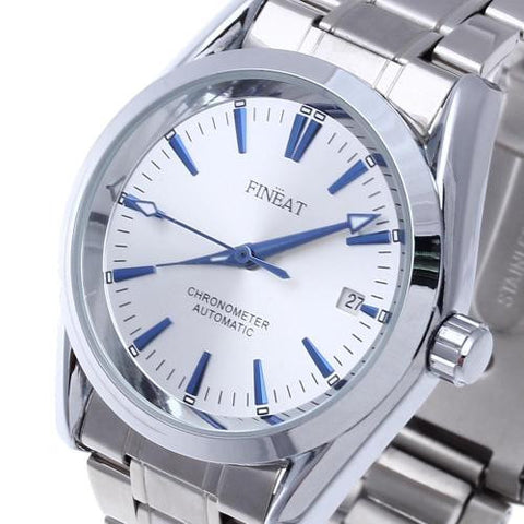 Mens Automatic Mechanical Stainless Steel Wrist Watch Day Calendar Business Gift
