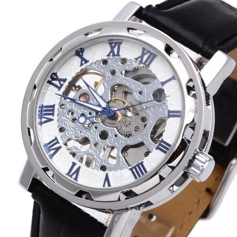 Men's Wrist Watch Black Leather Band Skeleton Mechanical Sport Army Classic