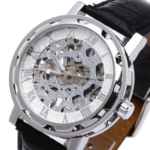 Men's Skeleton Mechanical Wrist Watch Leather Band Sport Army Alloy Dial Gift