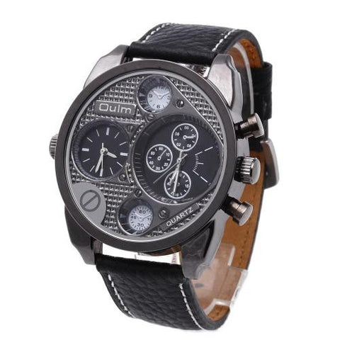 Oulm Multi-Function Dual Time Zone Dial Sport Mens Leather Quartz Wrist Watch