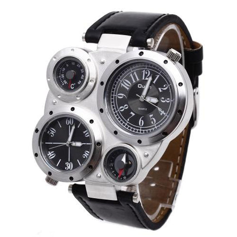 OULM Military Army Dual Time Zones Movements Mens Watch Big Dial Leather Sports
