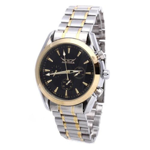 Men's Automatic Mechanical Wristwatch Stainless Steel Band Black Dial Sports