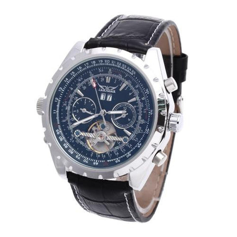 Men Automatic Mechanical Wristwatch Leather Band Skeleton Dial Calendar Sport